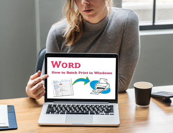How can I print out 20 individual Word documents at once on a Windows OS?