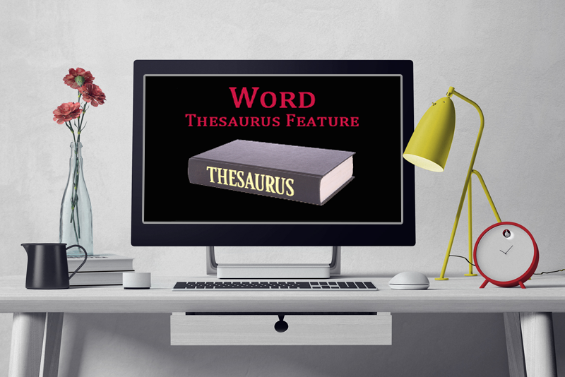 What is the purpose of the thesaurus feature in MS Word?